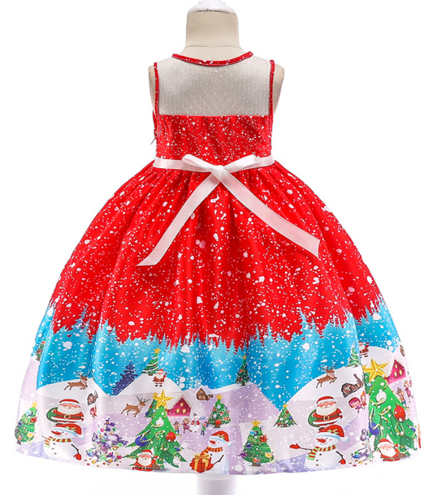 Beautiful Red Dress with santa and tree prints knee length dress for Baby Girls - shopfils.com