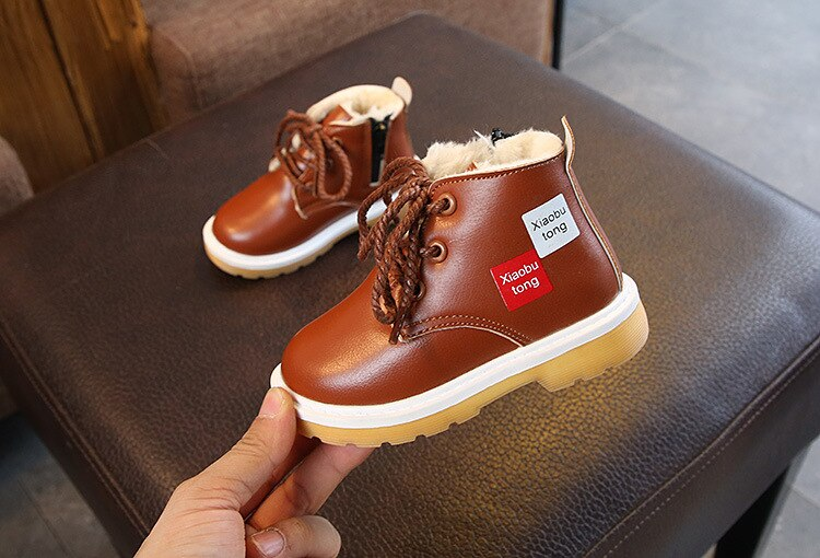 Brown lace up winter boot shoes for kids