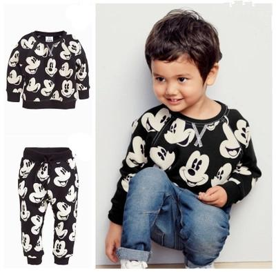 Black & white Mickey Printed Tee with  full length bottom set for boys - shopfils.com
