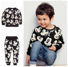 Black & white Mickey Printed Tee with  full length bottom set for boys