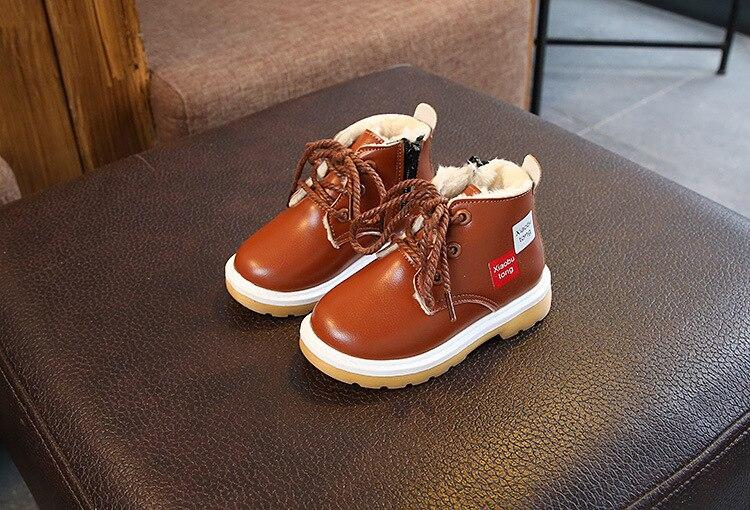 Brown lace up winter boot shoes for kids -shopfils.com
