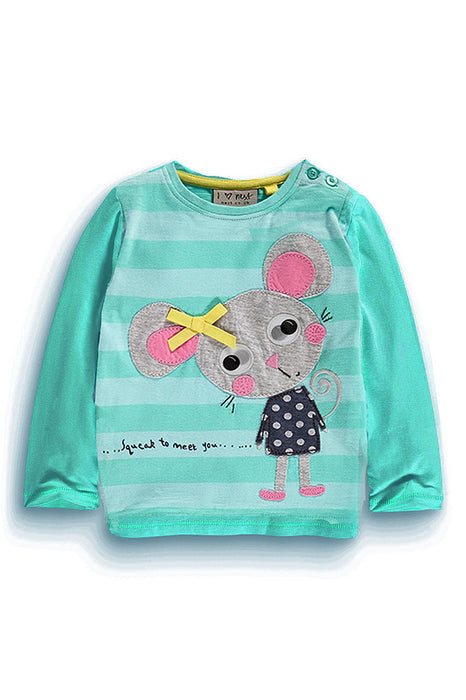 Cute Printed  Full Sleeve Tee for Girls - shopfils.com