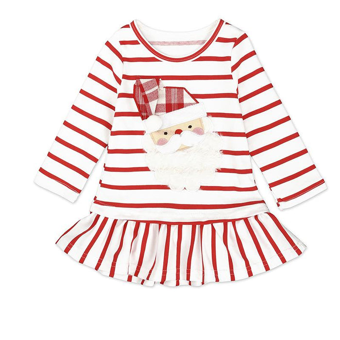 Santa Printed Knee Length dress for Baby Girls - shopfils.com