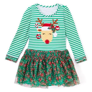Fashion Reindeer Printed Dress for Girls