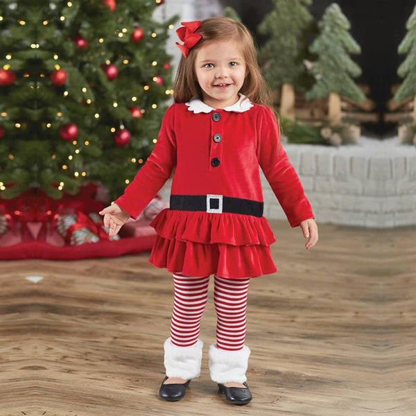 Cute Red and White Baby Santa Costume Dress for Little Girls