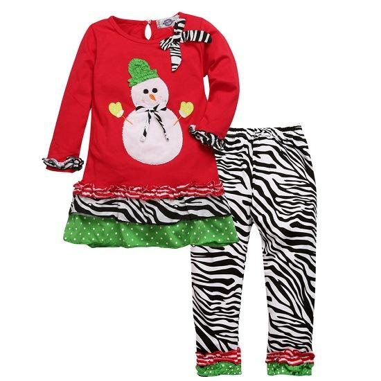 Snowman Full Sleeve Top and Bottom set For Girls - shopfils.com