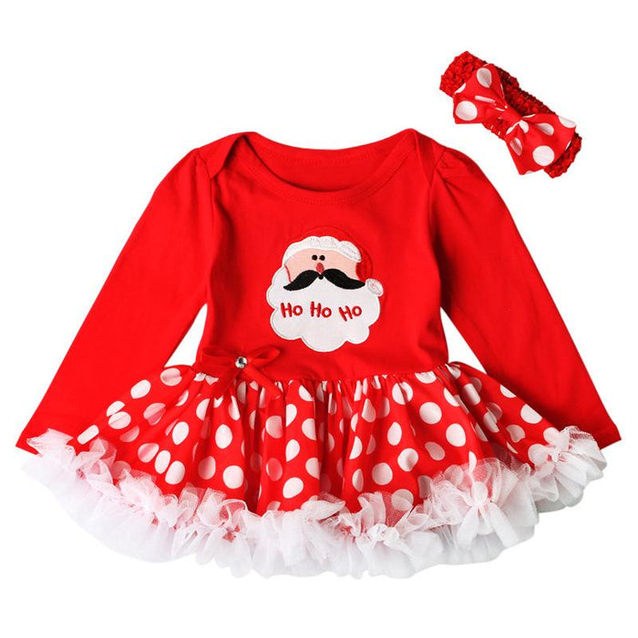 Ho Ho Ho Printed My First Christmas Dress with Headband for Little Girls - shopfils.com