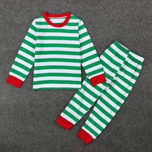Green Striped Christmas 2 Pcs Pajama Set Kids