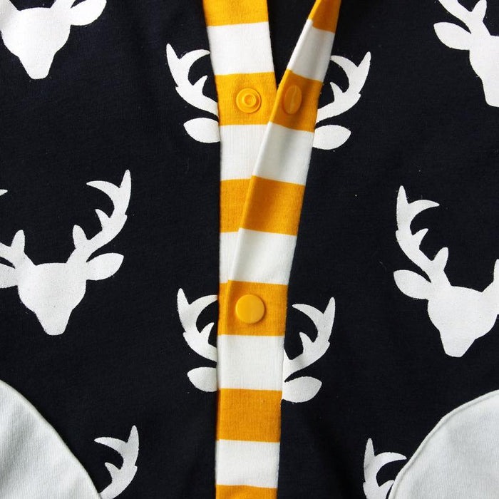 Christmas Reindeer Roamper with Hoodie for Little Boys - shopfils.com