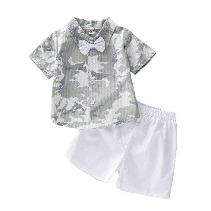Camouflage pattern shirt with shorts set for baby boys - shopfils.com