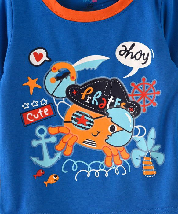 Cute Pirate Crab Printed Glow in the Dark Nightwear