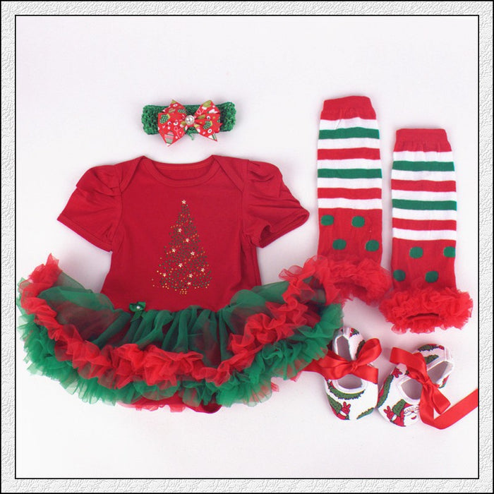 Christmas Baby Tree Printed Tutu Dress - 4 Pcs Set for Baby Girls - shopfils.com