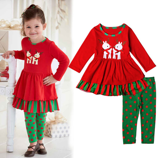 Christmas Delights Dress with Leggings for Little Girls - shopfils.com