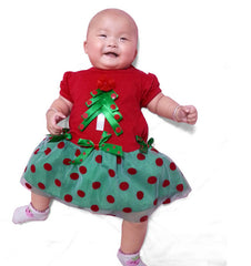 X -Mas Tree Dress for  Little Girls