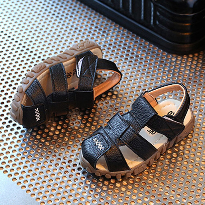 Classic hook and loop black sandals for boys - shopfils.com