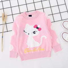 Cute Cat printed pink pure Cotton Soft Sweater for Little Girls