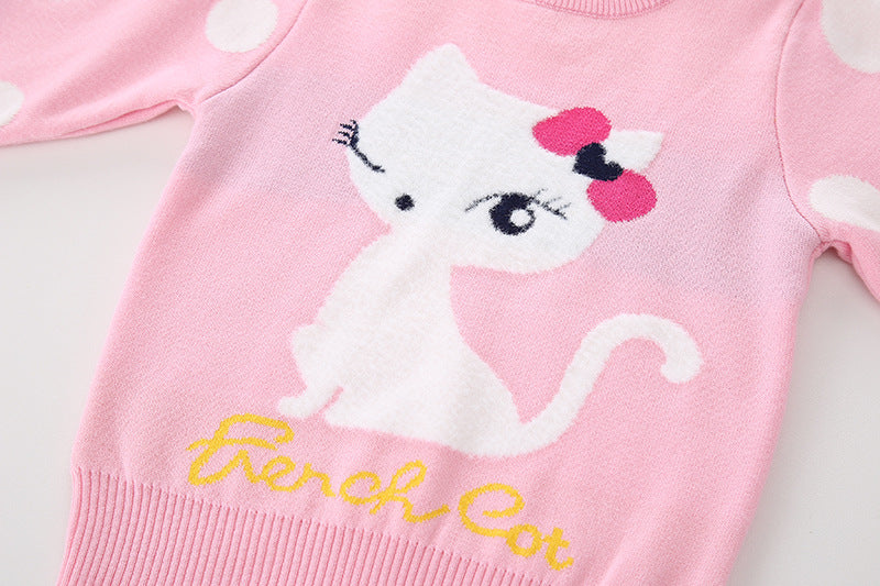 Cute Cat printed pink pure Cotton Soft Sweater for Little Girls - shopfils.com