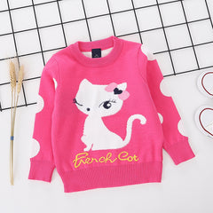 Cute Cat printed rose pure Cotton Soft Sweater for Little Girls