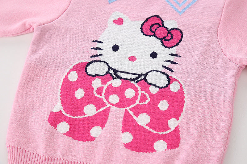 Cute Kitty Printed pink pure Cotton Soft Sweater for Little Girls