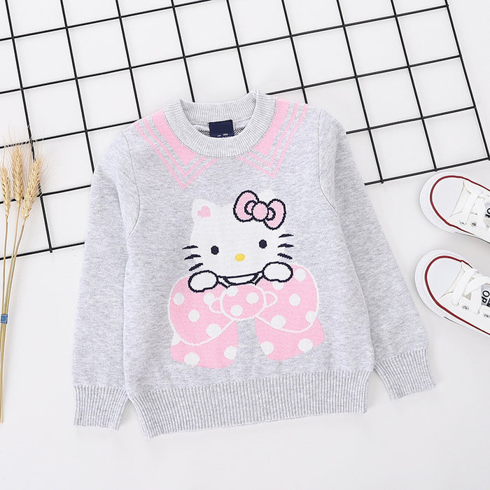 Cute Kitty Printed Grey pure Cotton Soft Sweater for Little Girls - shopfils.com