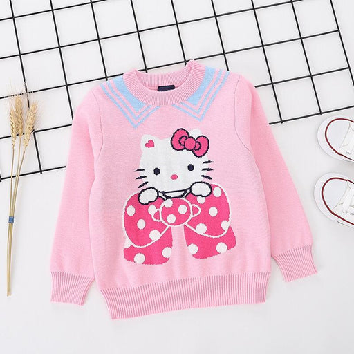 Cute Kitty Printed pink pure Cotton Soft Sweater for Little Girls - shopfils.com