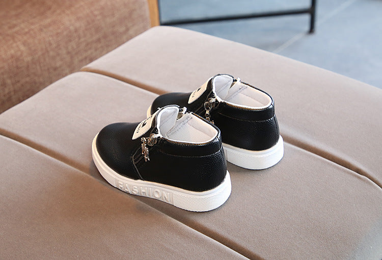 Easy slip on Black Short Boots shoes for baby girls and boys