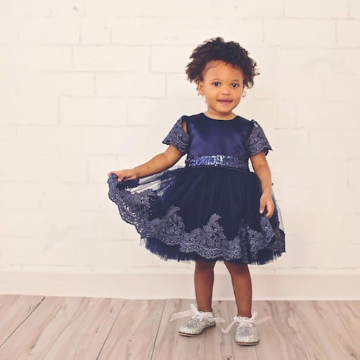 Embroidered Laced Dress with Bow - Blue - shopfils.com