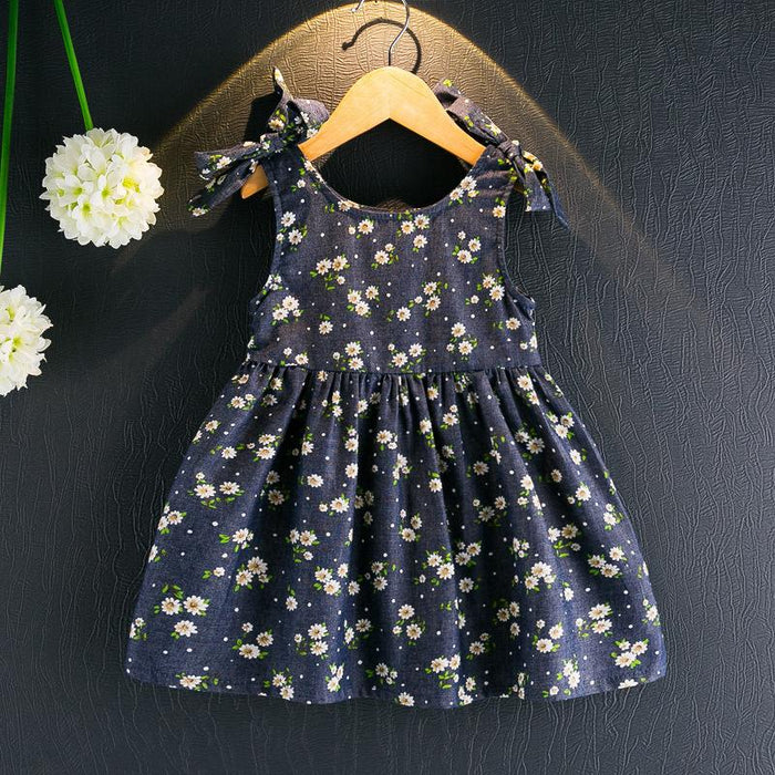Blue Knot Summer Dress for Girls - shopfils.com
