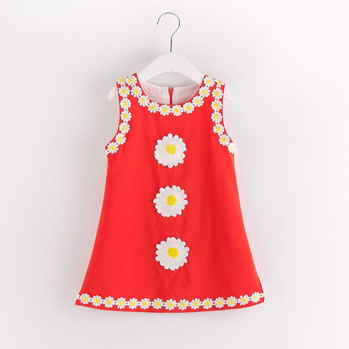 Red Flower Suzy Dress for Girls - shopfils.com