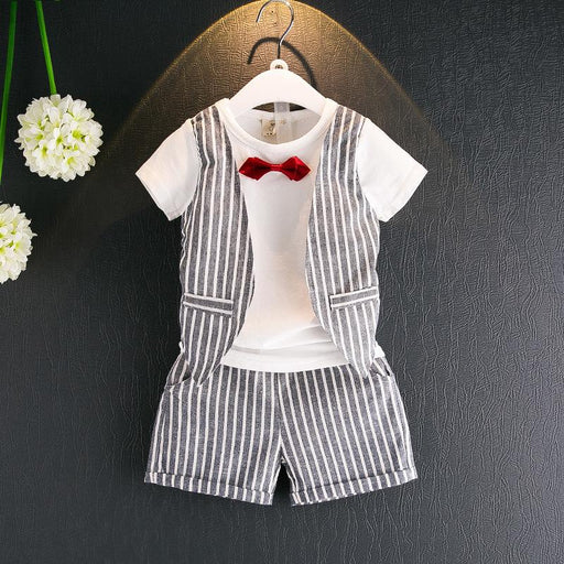 Gray Striped Tee with Attached Jacket and  Shorts Set for Boys - shopfils.com