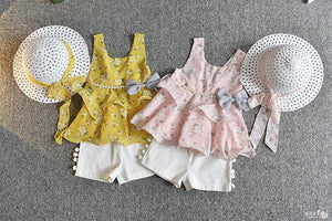 3Pc Flared Top, Short and Hat Set for Girls