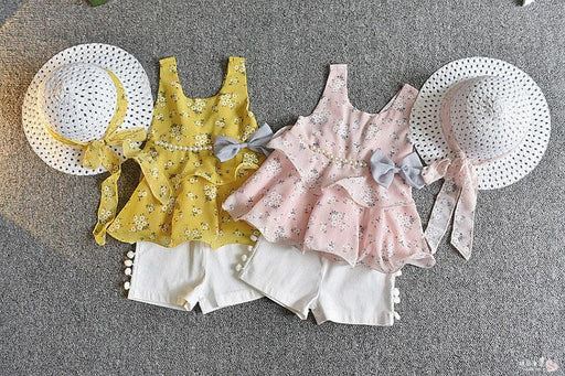 3Pc Flared Top, Short and Hat Set for Girls - shopfils.com