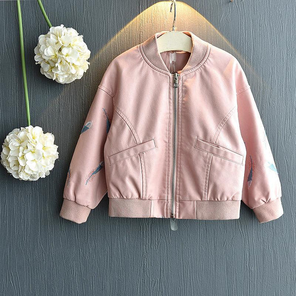 Beautiful Pink PU Leather Jacket for Baby Girls