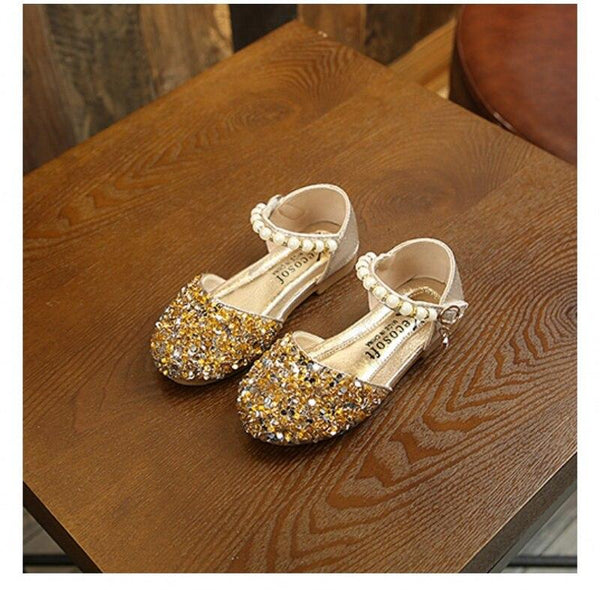 Golden Crystal slip on with pearl bead hook and loop sandals for girls