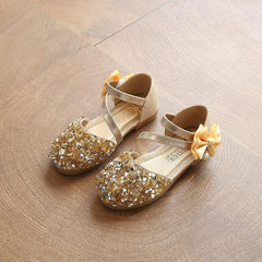 Golden Sequins Bow Pearl slip on hook and loop sandals for girls