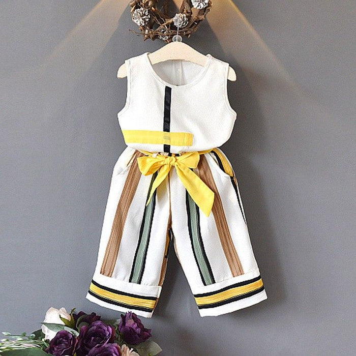 Fashionable White Sleeveless Girl Tops and Yellow Stripe Pant Set - shopfils.com