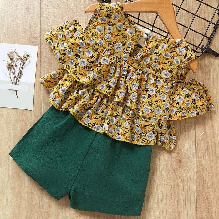 Floral Printed Cut Sleeve Top and solid Green Short for Girls - shopfils.com