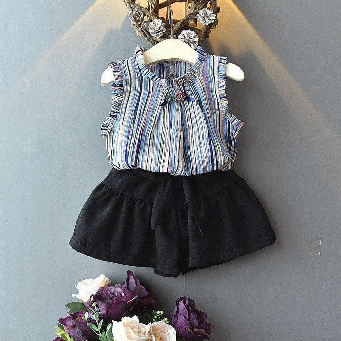 Stylish Blue Wing Sleeve Girl Tops and Black Bow Shorts - shopfils.com