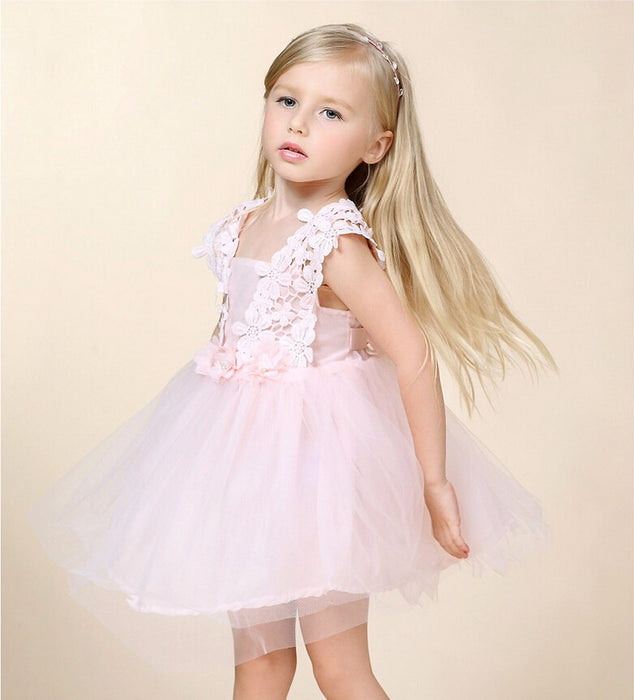 Laced Sleeveless knee Length Dress for Girls - shopfils.com