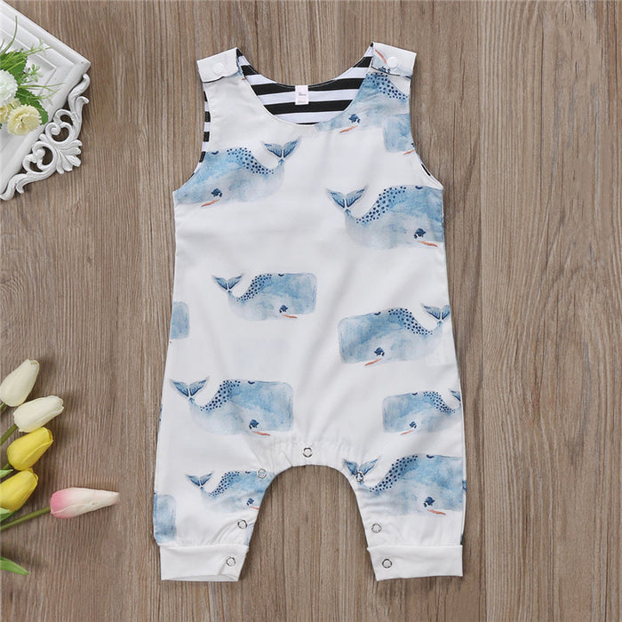 Whale Printed Cute Overall for Baby Boys -shopfils.com