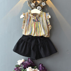 Stylish Yellow Wing Sleeve Girl Tops and Black Bow Shorts