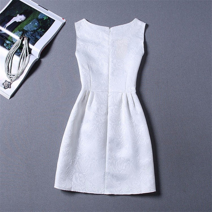 White Plain Formal Summer Knee Length Dress for Girls - shopfils.com