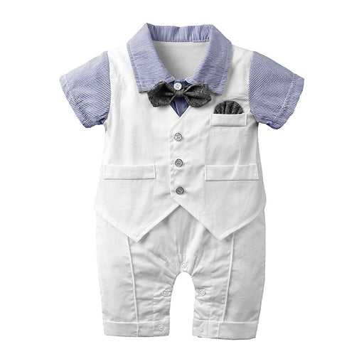 Half Sleeves sky bodysuit with diaper button and bow Romper for boys