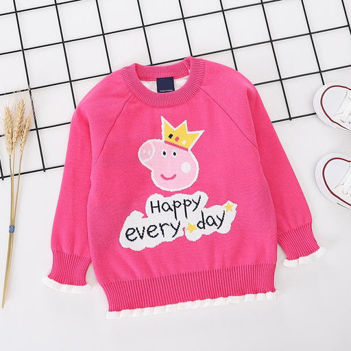 Happy Everyday Piggy Princess Printed Pink pure Cotton Soft Sweater for Little Girls - shopfils.com
