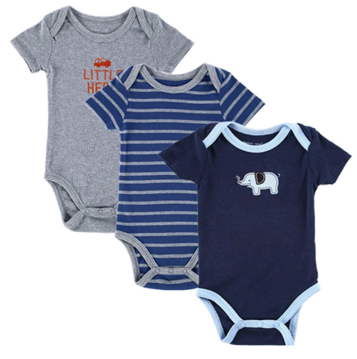 3 Pcs Cute Blue Printed Bodysuit for Baby Boys - shopfils.com