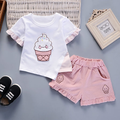 Ice - cream Printed Top and Short Set for Baby Girls - shopfils.com