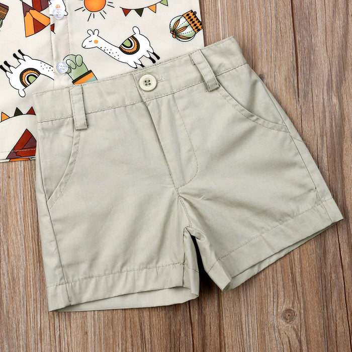 Latin Festival - Printed Shirt and Shorts Set for Baby Boys - shopfils.com