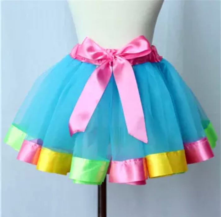 Multi color Skirt for Girls with Pink Waist-bow for Little Girls - shopfils.com