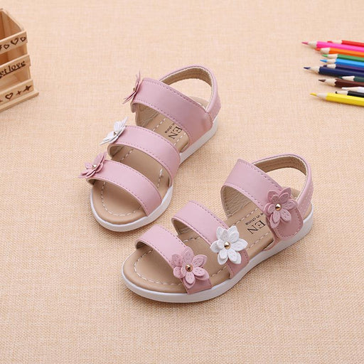 Pink Flower hook and loop soft sole sandals for girls - shopfils.com