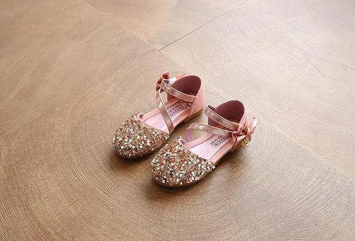 Pink Sequins Bow Pearl slip on hook and loop sandals for girls - shopfils.com